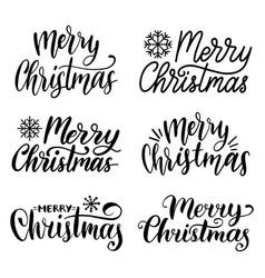 Handwritten merry christmas calligraphy set vector