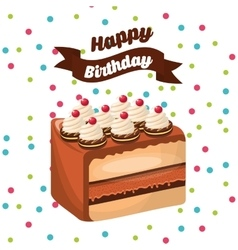 Happy birthday celebration card with delicious vector