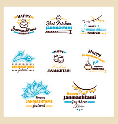 happy janmashtami badges set vector image