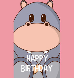 hippo cute birthday card vector image