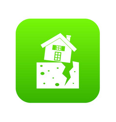 house after an earthquake icon digital green vector image