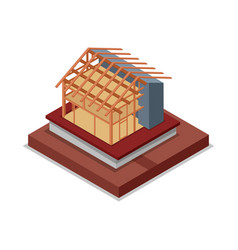 House roand walls framework isometric 3d icon vector
