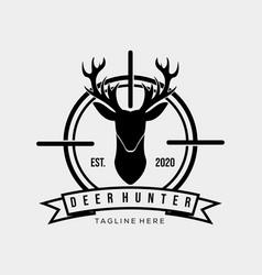 Hunter logo symbol vintage deer logo vector
