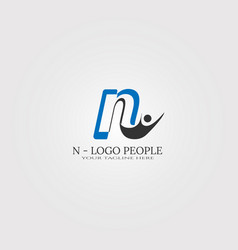 Initial n letter logo template with people logo vector