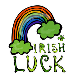 irish luck logo with rainbow and clover vector image