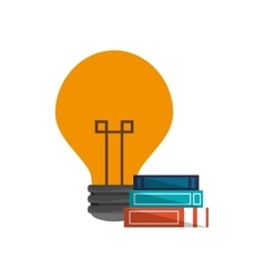 Lightbulb and books icon vector