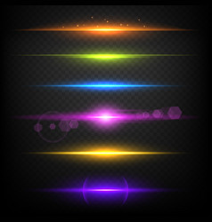 Line glow borders neon light illuminated linear vector