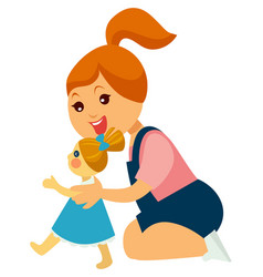 Little redhead girl plays with doll in dress vector