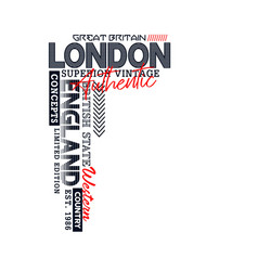 london typography uk style for t-shirt vector image