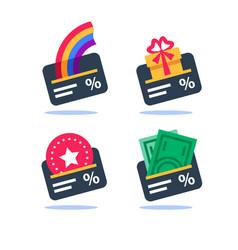 Loyalty program cash back gift card earn points vector