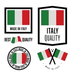 Made in Italy label set national flag vector image