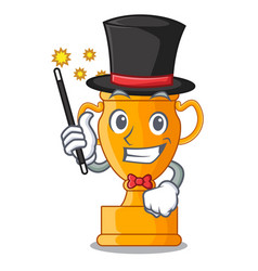 Magician golden trophy cup isolated on mascot vector