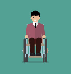 man is sitting in a wheelchair vector image