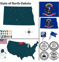 Map of North Dakota vector image