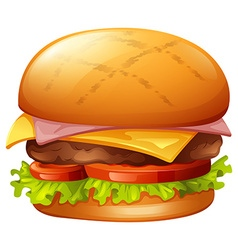 Meat burger on white vector