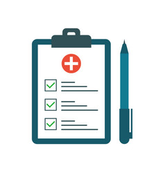 Medical test with pen in flat style questionnaire vector