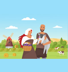 Medieval farmers and green farm field landscape vector