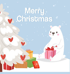 merry christmas and polar bear with gift box vector image