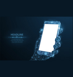 Mobile phone abstract polygonal wireframe closeup vector