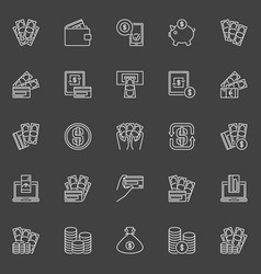 money and payment line icons vector image