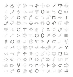 monochrome set with drawing arrows vector image