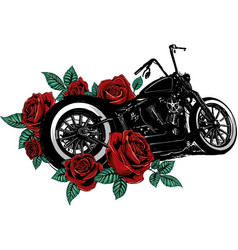 motorcycle bike with roses and peonies vector image