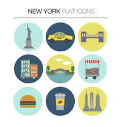 new york flat icon set vector image