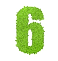 Number 6 consisting of green leaves vector