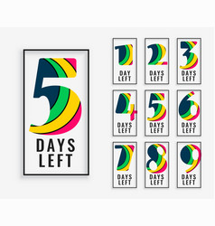 number days left in colorful style vector image
