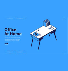 office at home isometric landing page workplace vector image