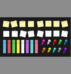 office paper stickers and metal pins pack vector image