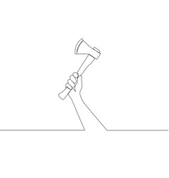 One single line drawing of man holding hand axe vector