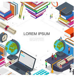 Online education and learning composition vector