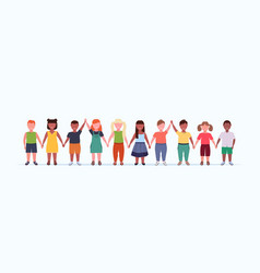 overweight smiling children group holding raised vector image