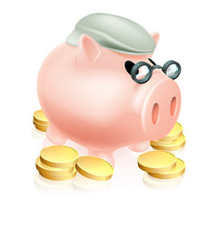 Pension piggy bank with coins vector