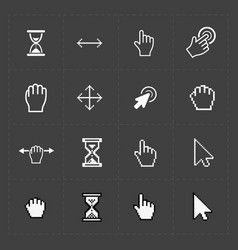 Pixel cursors icons on black vector