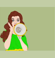 pop art girl with megaphone vector image