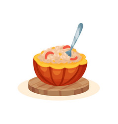 Porridge within the pot of a ripe pumpkin organic vector