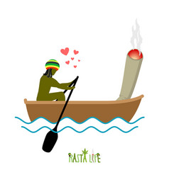 rasta life rastaman and joint or spliff boating vector image