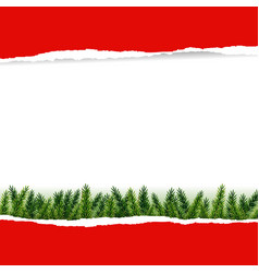 Ripped red paper with furtree vector