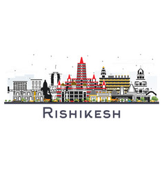 rishikesh india city skyline with color buildings vector image