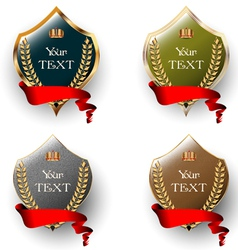 Royal labels with red ribbons vector