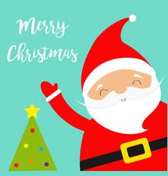 santa claus waving hand merry christmas tree vector image