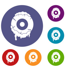 scary eyeball icons set vector image