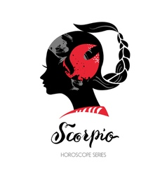 Scorpio zodiac sign Beautiful girl silhouette vector image