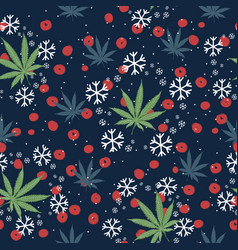 Seamless pattern with christmas trees snowflakes vector