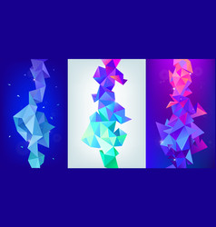 Set 3d geometric shapes facet vertical vector