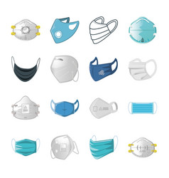 Set icons medical mask on white background vector