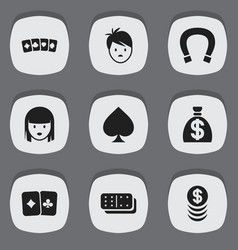 Set of 9 editable gambling icons includes symbols vector