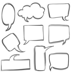 Set of text balloon hand draw vector